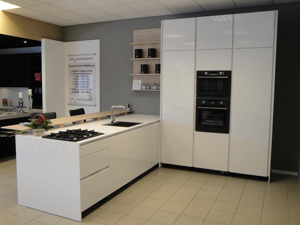 Witte Hoogglans Keuken Greeploos : woonwinkel van Nederland! Hoogglans wit greeploze keuken [41846