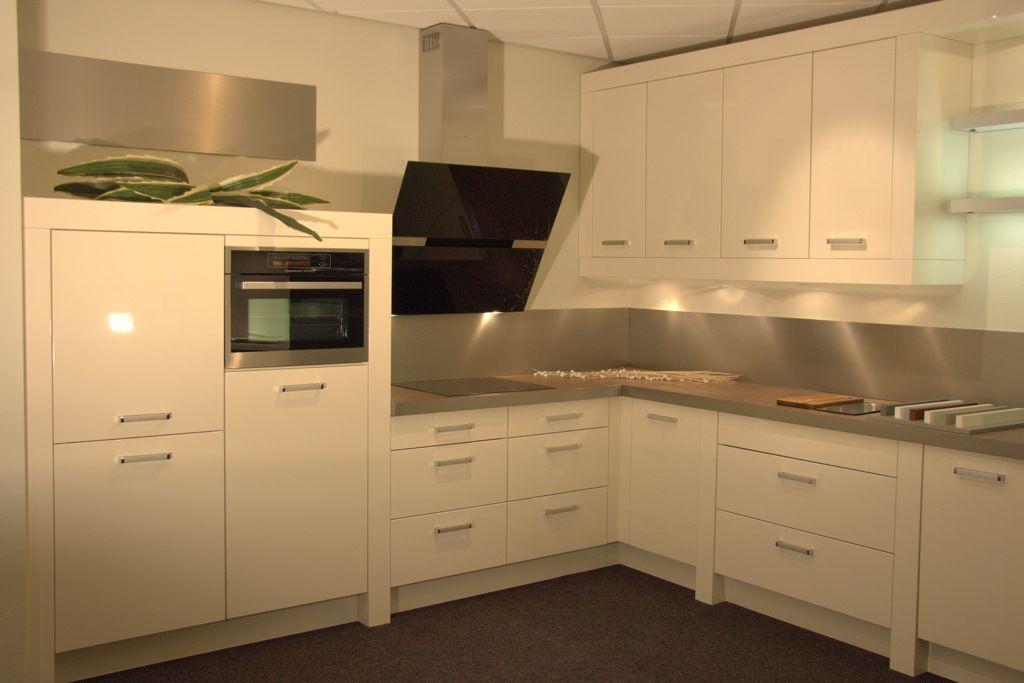 De voordeligste woonwinkel van nederland hoekkeuken gelakt a78 0711 - Witte keuken voorzien van gelakt ...