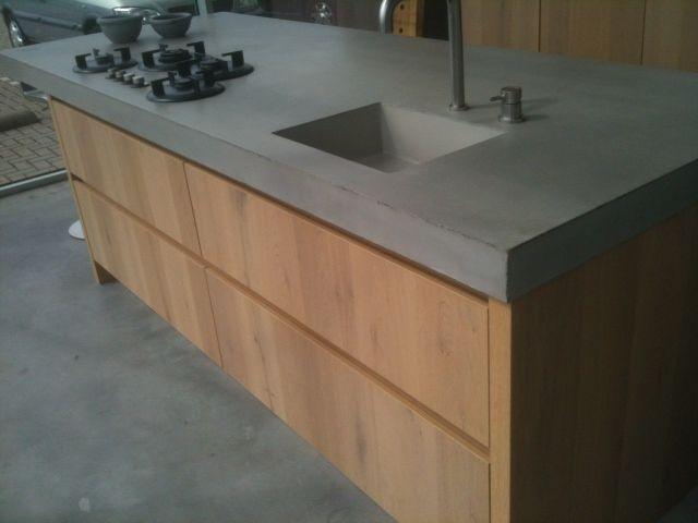 Keuken Met Betonnen Werkblad : Wild eiken keuken GREEPLOOS, met betonnen werkblad 10 cm inclusief
