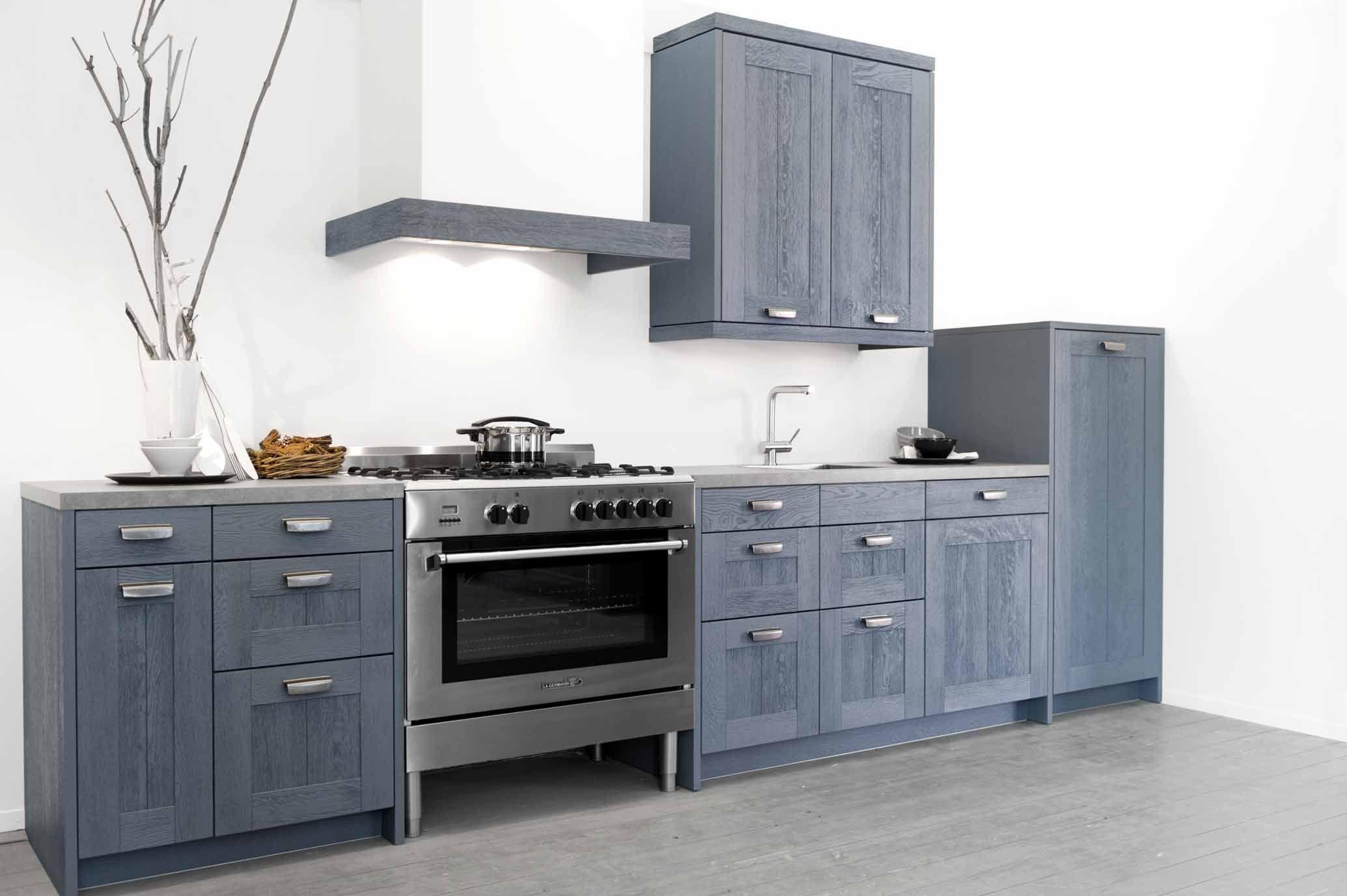 Blauwe Landelijke Keuken : woonwinkel van Nederland! Houten rechte keuken (14) [48752